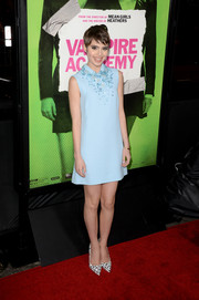 Sami Gayle looked adorably retro at the 'Vampire Academy' premiere in a baby-blue Miu Miu mini with an embellished neckline.
