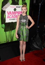 Peyton List went to the 'Vampire Academy' premiere wearing a Nicole Miller print dress.