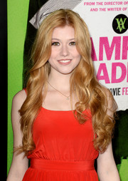 Katherine McNamara left her flowing curls loose when she attended the 'Vampire Academy' premiere.