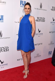 Sarah Wayne Callies polished off her chic look with silver evening sandals.