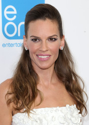 Hilary Swank matched her swept-back hairstyle with a simple yet elegant pair of diamond studs.