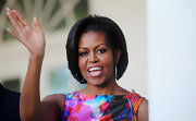 Michelle Obama sported a gorgeous bob accentuated with turquoise hoops at the White House Cinco de Mayo celebration.