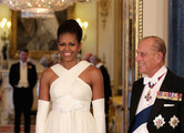 Michelle Obama and Prince Philip, Duke of Edinburgh (R) pose in the Music Room of Buckingham Palace ahead of a State Banquet on May 24, 2011 in London, England. The 44th President of the United States, Barack Obama, and his wife Michelle are in the UK for a two day State Visit at the invitation of HM Queen Elizabeth II. During the trip they will attend a state banquet at Buckingham Palace and the President will address both houses of parliament at Westminster Hall.
