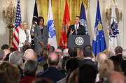Michelle Obama looked subdued yet stylish in a gray skirt suit during a White House event on supporting military families.