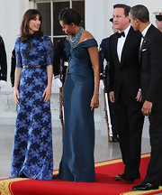 Samantha Cameron looked oh-so-elegant in this floral floor-sweeping dress for her visit to the White House.