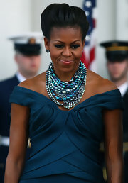 Michelle Obama wore this layered necklace of shades of blue for the visit from the Prime Minister.