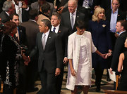 Michelle looked pristine at the National Cathedral in this white embellished coat and coordinating dress.