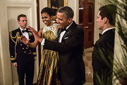 Michelle Obama was a stunner in a sleeveless gold evening dress at the Kennedy Center Honors.