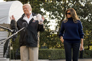 Melania Trump wore a navy turtleneck by Victoria Beckham as she departed the White House for Puerto Rico.