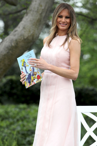 More Pics of Melania Trump Pointy Flats (2 of 30) - Flats Lookbook - StyleBistro [party animals,white,blond,beauty,lady,dress,fashion,spring,textile,long hair,reading,melania trump,trump,rutherford b. hayes,eggs,white house,lawn,u.s.,south lawn,easter egg roll]