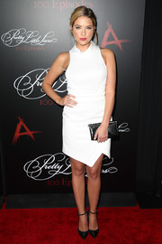Ashley Benson went the ultra-modern route in sleeveless white Camilla and Marc dress featuring a geometric hem during the 'Pretty Little Liars' 100th episode celebration.