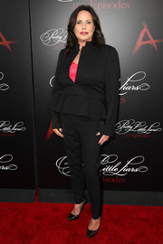 I. Marlene King kept it basic in a black pantsuit, made more feminine with a peplum waist, during the 'Pretty Little Liars' 100th episode celebration.