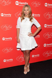 Vanessa Ray donned a little white dress with subtle stripes for the 'Pretty Little Liars' finale screening.