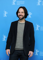 Paul Rudd paired a classic crewneck shirt with a charcoal gray blazer for a casual but dressy look at the Berlin Film Festival.