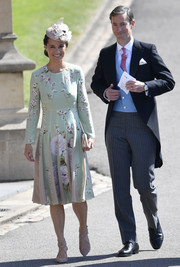 Pippa Middleton paired her dress with strappy nude pumps by Jimmy Choo.