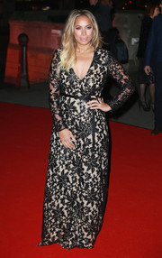Leona Lewis kept it timeless in a black lace gown with a cream underlay at the British Asian Trust reception and dinner.