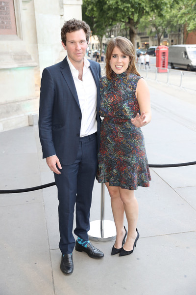 Princess Eugenie Print Dress [suit,fashion,snapshot,footwear,formal wear,dress,leg,event,white-collar worker,fun,arrivals,eugenie of york,jack brooksbank,london,england,v a,summer party,summer party]