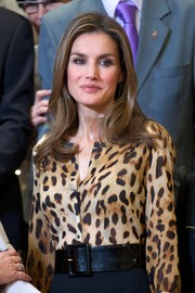 Princess Letizia styled her animal-print blouse with an oversized black belt for an audience at Zarzuela Palace.