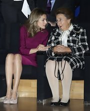 Margarita de Borbon looked smart and well-dressed in a black-and-white patterned skirt suit.