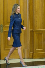 Princess Letizia looked fiercely stylish in a blue crocodile skirt suit during an audience at Zarzuela Palace.