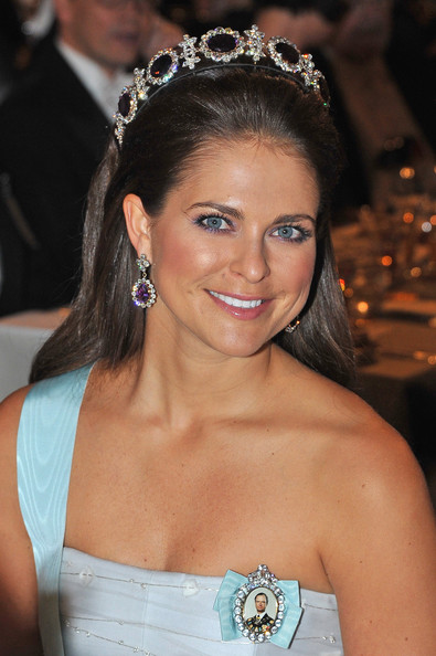 Princess Madeleine Long Straight Cut [madeleine of sweden,hair,headpiece,hair accessory,crown,tiara,hairstyle,clothing,fashion accessory,eyebrow,beauty,nobel banquet,nobel peace prize,stockholm,sweden,town hall]