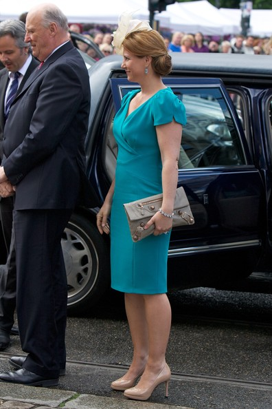Princess Martha Louise Leather Clutch [blue,lady,dress,fashion,turquoise,suit,footwear,blond,leg,electric blue,sonja of norway,harald v,martha louise of norway,king,church service,oslo cathedral,norway,birthdays,occasion,birthdays]