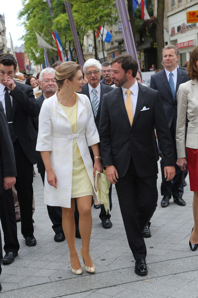 Princess Stephanie of Luxembourg Tweed Coat [suit,snapshot,fashion,event,white-collar worker,footwear,formal wear,walking,pedestrian,uniform,guillome,stephanie,luxembourg celebrates national day,visit,luxembourg,esch-sur-alzette]