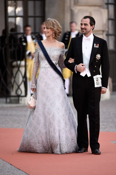 Princess Tatiana Off-the-Shoulder Dress [carl philip of sweden,arrivals,sofia hellqvist,tatiana,nikolaos,r,gown,red carpet,dress,carpet,clothing,flooring,suit,fashion,wedding dress,formal wear,wedding,ceremony,wedding,greece]