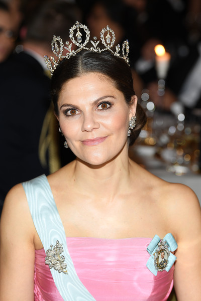 Princess Victoria Diamond Brooch [headpiece,hair,hair accessory,clothing,crown,tiara,fashion accessory,beauty,hairstyle,jewellery,victoria,nobel prize,stockholm,sweden,city hall,nobel prize banquet]