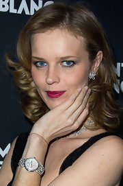 Eva Herzigova wore a glossy dark raspberry lipstick at the Montblanc Princesse Grace de Monaco VIP Dinner.