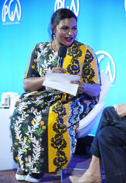 Mindy Kaling donned a vibrant mixed-print dress by Oscar de la Renta for the 2019 Produced By Conference.
