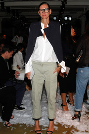 Jenna Lyons wore a structured black vest over a white button-down for the Public School fashion show.