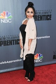 Nicole Polizzi mixed and matched a pair of black open-toe over-the-knee boots with a strapless LBD and a cream-colored wrap for the 'New Celebrity Apprentice' Q&A.