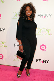 Star Jones paired black cigarette pants with a loose blouse for a casual yet elegant finish at the FFANY Shoes on Sale event.