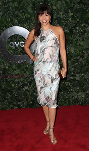 Gloria Reuben showed her playful side at the QVC red carpet with a multi-colored sequin halter dress.