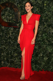 Katharine McPhee kept focus on her red gown by pairing it with neutral patent platforms.
