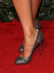 Shoshanna Lonstein wore a pair of lovely glitter pumps at the QVC party.