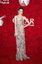 Jaime King donned a camisole sheer gown with floral embroidered designs at the Qatar Airways Los Angeles Gala.