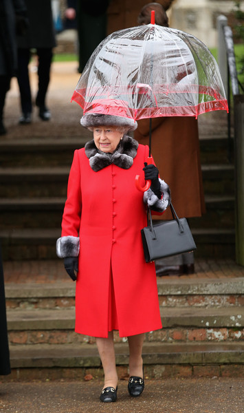 Queen Elizabeth II Evening Coat [the royal family attend church on christmas day,red,clothing,umbrella,pink,outerwear,fashion,headgear,street fashion,fashion accessory,costume,elizabeth ii,church service,sandringham,kings lynn,england,christmas day]