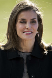 Queen Letizia of Spain attended an International Congress wearing a simple shoulder-length 'do with flippy ends.