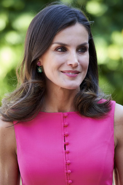 Queen Letizia of Spain Dangling Gemstone Earrings [hair,face,pink,beauty,hairstyle,lady,lip,clothing,photo shoot,magenta,queen,letizia,letizia,delivery,spain,spain attends,council,royal board on disability,reina letizia awards,meeting]