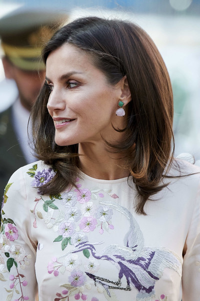 Queen Letizia of Spain Dangling Gemstone Earrings [hair,hairstyle,beauty,brown hair,eyebrow,long hair,lady,lip,fashion,street fashion,letizia,spanish association against cancer,madrid,spain,aecc,meeting,spain attends aecc event]