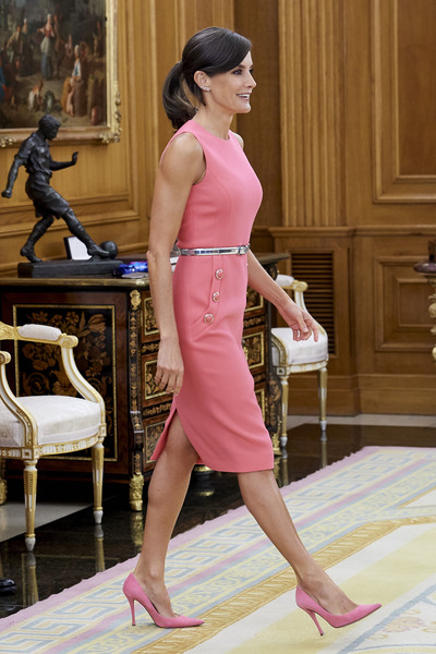 Queen Letizia of Spain Day Dress [pink,clothing,dress,shoulder,lady,fashion,leg,fashion model,joint,footwear,dress,ona carbonell,letizia,royals,fashion,pink,clothing,spanish,zarzuela palace,queen regnant,letizia of spain,palace of zarzuela,royal palace of madrid,dress,spanish royal family,image,queen regnant,fashion]