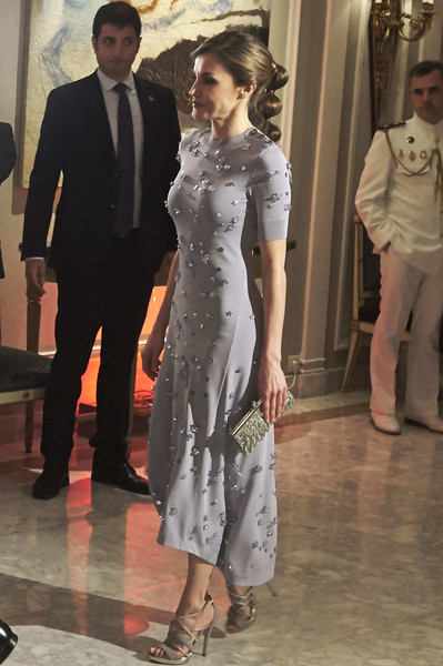 Queen Letizia of Spain Strappy Sandals [dress,fashion model,fashion,formal wear,gown,girl,shoulder,flooring,haute couture,suit,letizia,spanish royals attend 60th anniversary,spain,hotel,madrid,villa magna,europa press agency,news agency,60th anniversary]