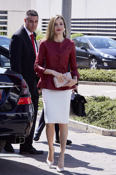 Queen Letizia of Spain Leather Jacket [car,footwear,fashion,vehicle,suit,leg,outerwear,girl,formal wear,shoe,letizia,spain,madrid,reina sofia alzheimer foundation,spanish royals attend 40th anniversary of reina sofia alzheimer foundation,anniversary]