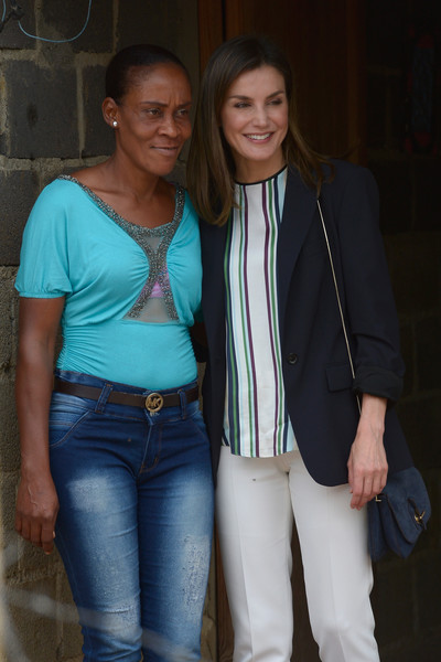 Queen Letizia of Spain Suede Shoulder Bag [jeans,fashion,youth,outerwear,fun,event,denim,style,letizia,water distribution project,spanish,dominican republic,spain,community,santo domingo,third cooperation trip to dominican republic,haiti,visit]