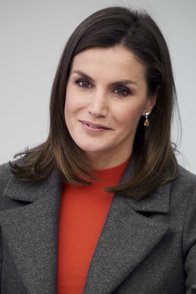 Queen Letizia of Spain Mid-Length Bob [letizia of spain attends a meeting with fad foundation,hair,face,hairstyle,eyebrow,chin,lip,cheek,forehead,long hair,layered hair,foundation against drugs,queen,letizia,fad,spain,madrid,repsol campus,meeting]