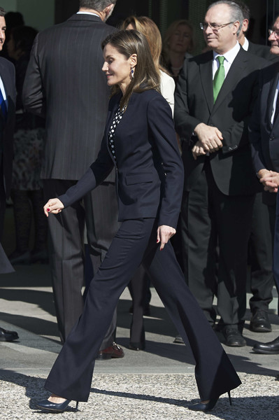 Queen Letizia of Spain Pantsuit [the golden medals to the merit in fine arts,suit,clothing,formal wear,tuxedo,white-collar worker,pantsuit,outerwear,footwear,event,leg,gold medals of merit in fine arts 2016,royals,letizia,spanish,spain,malaga,pompidou center,ceremony]