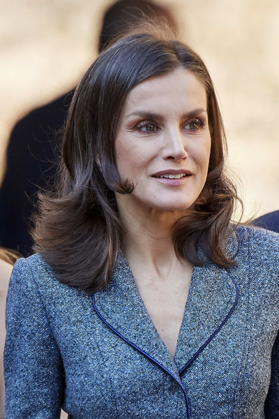 Queen Letizia of Spain attended the 'Zirid Granada and the Berber Universe' exhibition wearing her hair in a flip.