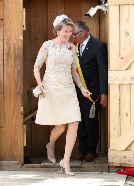 Queen Mathilde of Belgium Cocktail Dress [the royal family attend the passchendaele commemorations,white,clothing,photograph,dress,wedding dress,lady,bridal clothing,formal wear,ceremony,standing,members,mathilde of belgium,commemorations,dugout,part,centenary,belgium,memorial museum passchendaele,opening]
